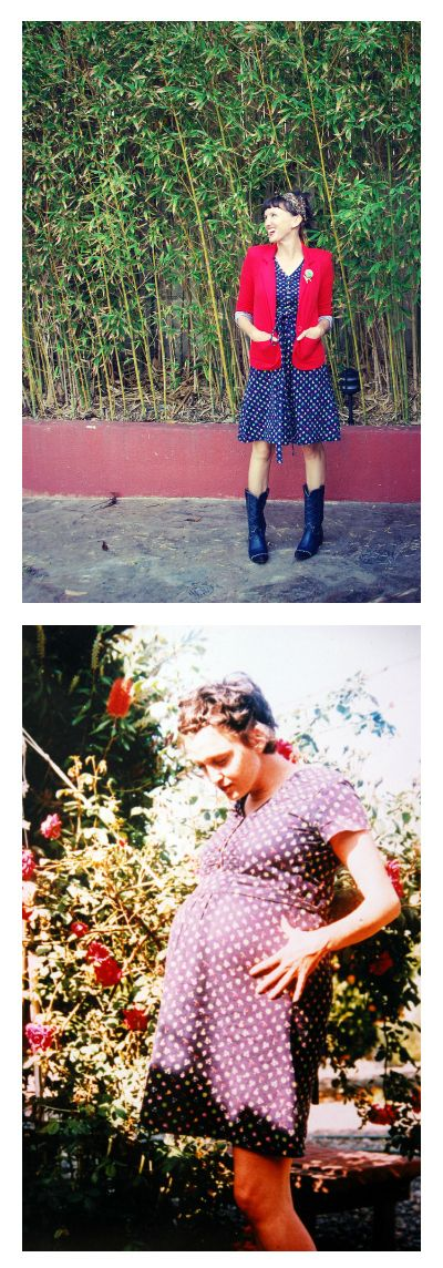 The vintage maternity dress that keeps on giving before and after! mending sewing clothing DIY   http://californiapixie.com/2012/11/01/fruit-dress-with-a-history/#