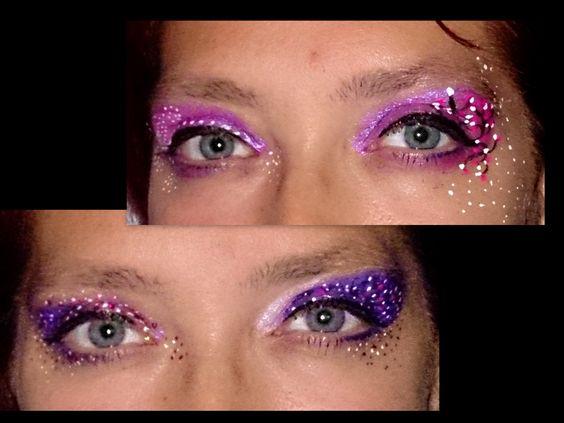 Paarse make up/schmink. Ik heb hiervoor superstar en partyxplosion gebruikt. En tevens glittergel van Global Colors. Het zijn twee varianten in licht paars, en twee varianten met donker paars.
