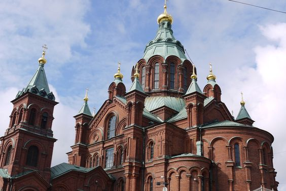 The Eastern Orthodox Uspenski Cathedral sits atop a hill in the Katajanokka district in Helsinki. This peninsula also boasts some of the most original Jugendstil or Art Nouveau architecture in the city.