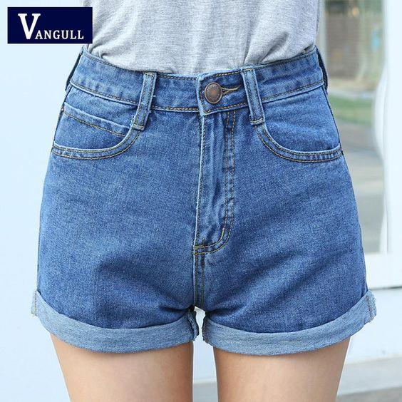 ارتفاع الخصر الدينيم السراويل زائد حجم Xl الإناث قصيرة جينز للمرأة 2016 الصيف السيدات السراويل High Waisted Shorts Denim Linen Shorts Women Denim Short Dresses