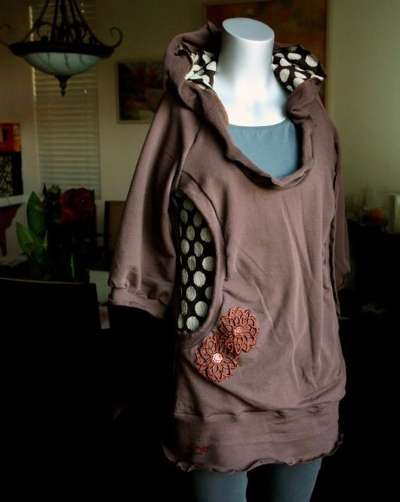 French terry balloon sleeve hoodie with polka dot lining by KayLim