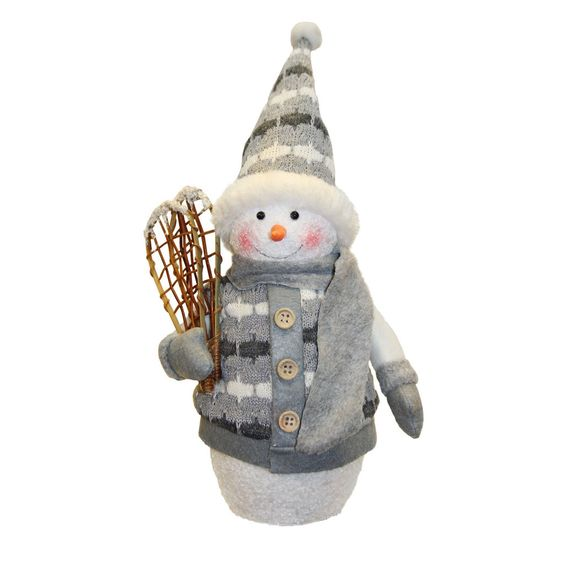 "10"" Alpine Chic Gray and White Sparkling Snowman with Snowshoes Christmas Decoration"