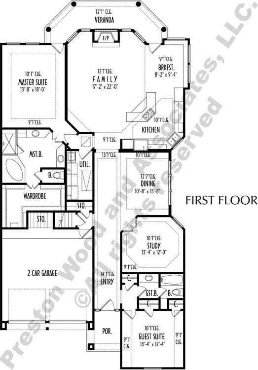 One Story House Floor Plans Residential Home Design Home Blueprints Preston Wood Associates One Story Homes House Floor Plans Story House