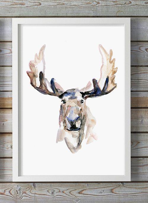 Aquarelle d'un portrait de print-animal-Moose par Zendrawing