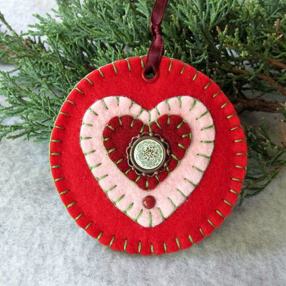 Red Wool Felt Round Heart Tag Ornament by FHGoldDesigns on Etsy