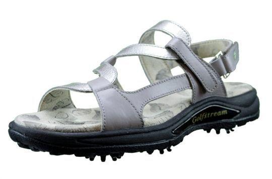 Greenleaf Sport Ladies Spiked Golf Sandals Gray & Crystal