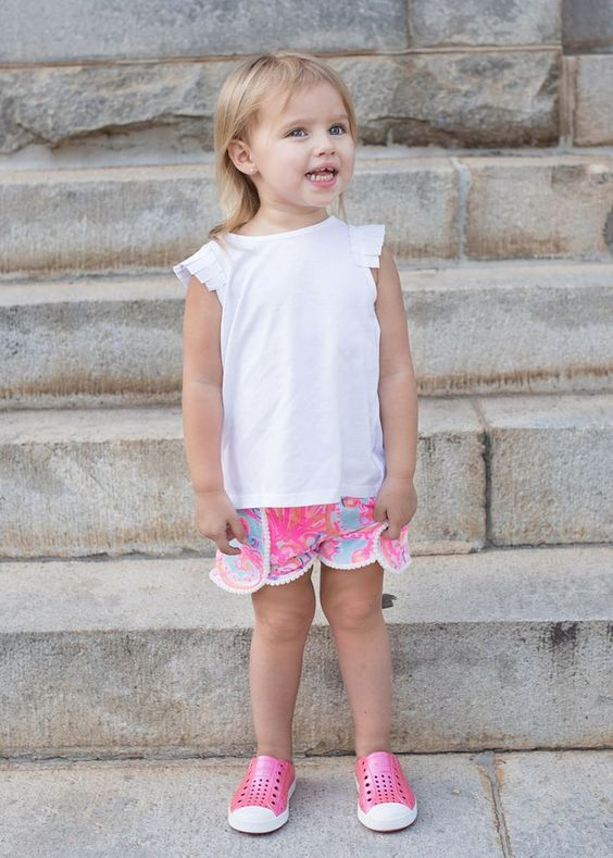 Perfect preschool outfit for a toddler girl! Gotta love the Lilly Pulitzer shorts, Kardashian Kids top, and those Pink Native  #ZapposStyle