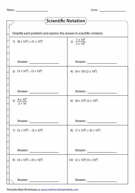Printables Scientific Notation Worksheet Chemistry operations with scientific notation math aids com pinterest worksheets contain rewriting whole numbers and decimals in both standard form