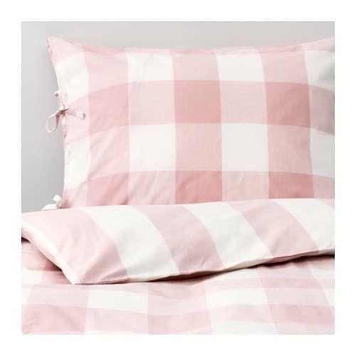 Emmie Ruta Duvet Cover And Pillowcase S Light Pink White Light Pink White Full Queen Double Queen Ikea Duvet Shared Girls Bedroom Ikea Duvet Cover