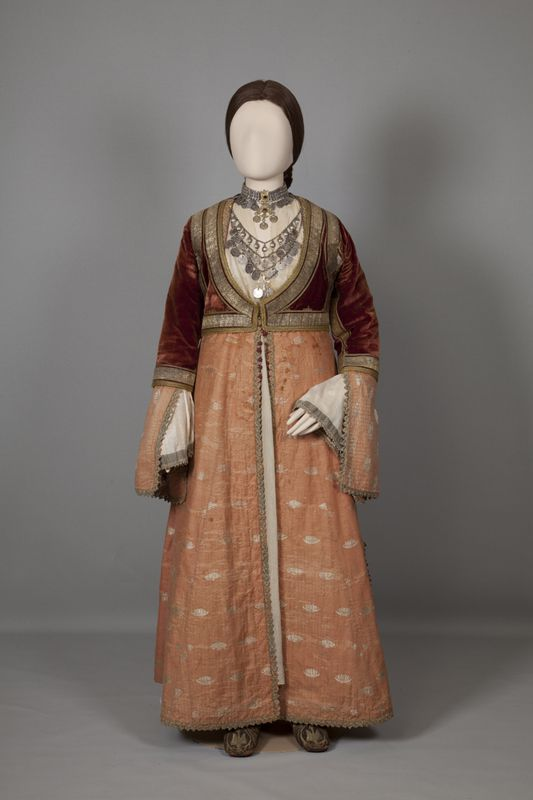 Greece, urban women's costume of Pyrgos, Ilia, Peloponnese, mid/late 19th century © Peloponnesian Folklore Foundation, Nafplion, Greece