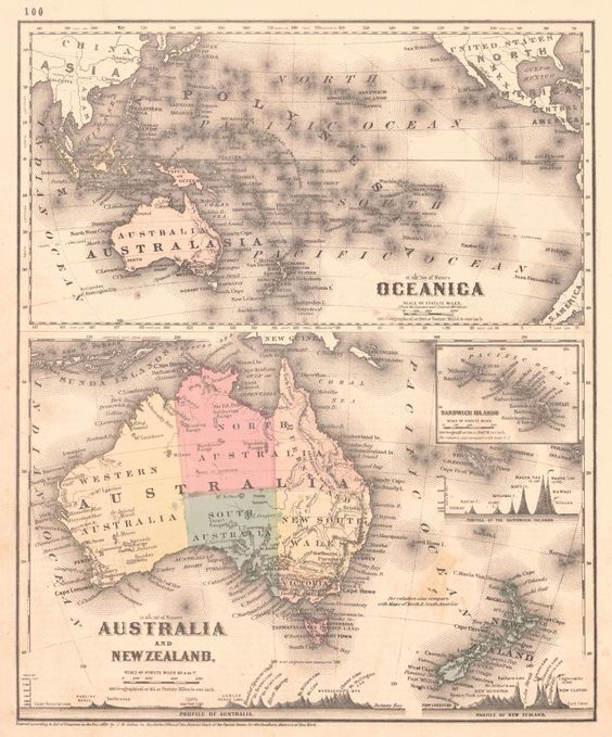 Map Antique. Oceanica Australia and New Zealand.  G.W. Colton and Geo. W. Fitch, 1865. New York. Two maps on a single quarto sheet, Oceanica above, with inset maps of the Sandwich Islands and a profile of the mountains found there.