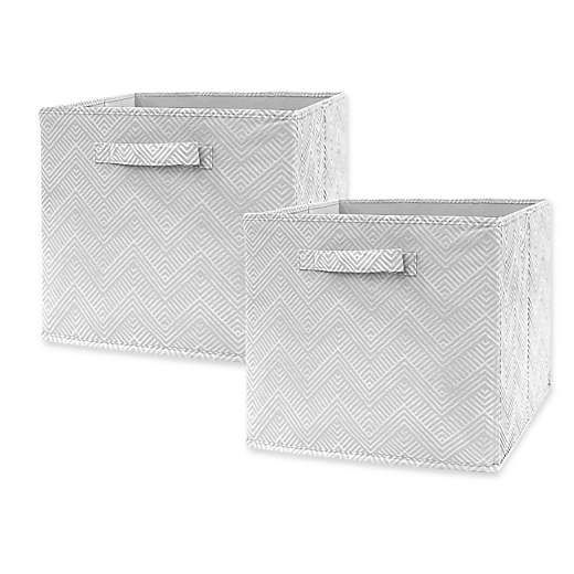 Market Village Chevron Geo Collapsible 12 Inch Storage Cube Set Of 2 In Grey Cube Storage Collapsible Storage Cubes Fabric Storage Bins