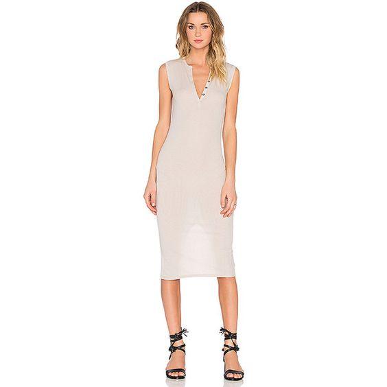 ATM Anthony Thomas Melillo Sleeveless Henley Midi Dress Dresses ($275) ❤ liked on Polyvore featuring dresses, mid calf dresses, no sleeve dress, pink midi dress, midi dress and ribbed dress