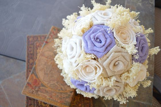 Violet Burlap and Sola Flower Bridal Bouquet by EmaCreates on Etsy