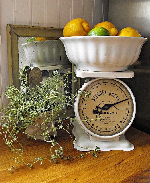 Rustic Farmhouse vintage kitchen scale ironstone bowl with lemons and lymes