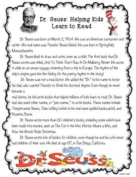 Dr. Seuss Biography Reading Comprehension | Read Across America ...
