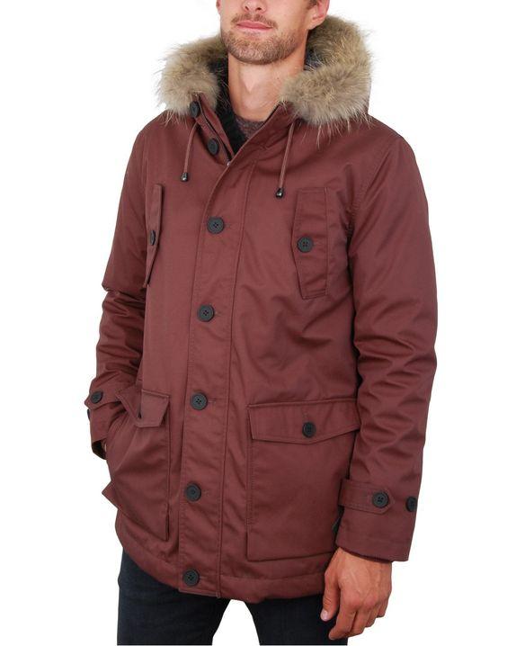 Manteau Minimum homme bordeaux à capuche fourrure Lake (fourrure amovible) - Vêtements homme, besace homme, manteau homme, parka homme