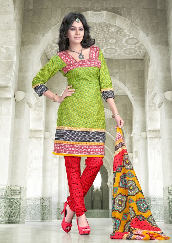 parrot Green with red dot printed #cottonsalwarkameez comes with yellow & red printed dupatta.