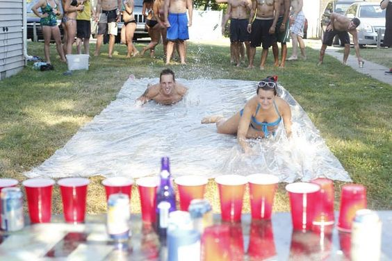 """Slip and Flip"" is Flip Cup with a Slip 'n Slide. So Awesome! #summer #party"