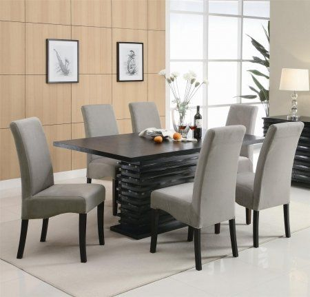 102061SET5 Stanton 5 PC Gray Dining Set (Table and 4 Chairs) by Coaster by Coaster Home Furnishings. $816.05. Made from ash veneers and finished in a rich black the Stanton 5 PC Gray Dining Set Table and 4 Chairs by Coaster Co features a unique wave design and stylish chair options so you can mix and match to create the perfect look for your home The chairs ...