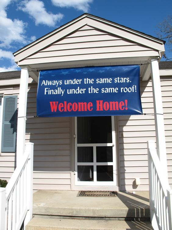 """Always under the same stars, finally under the same roof!"" Perfect homecoming sign! Welcome home! - MilitaryAvenue.com"