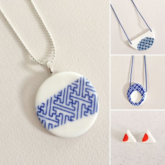 Porcelain jewelry by Bye Bye Belle on Etsy:
