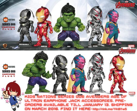 Kids Nations Series006 #Avengers Age of Ultron Earphone Jack Set   #rinkya #japan #marvel