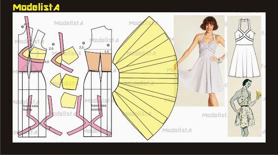Modelagem de vestido frente única com recortes no busto. ModelistA: DESTAQUE A CINTURA
