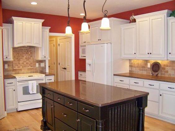 White Kitchen Espresso Island cream kitchen with espresso island, and bisque appliances