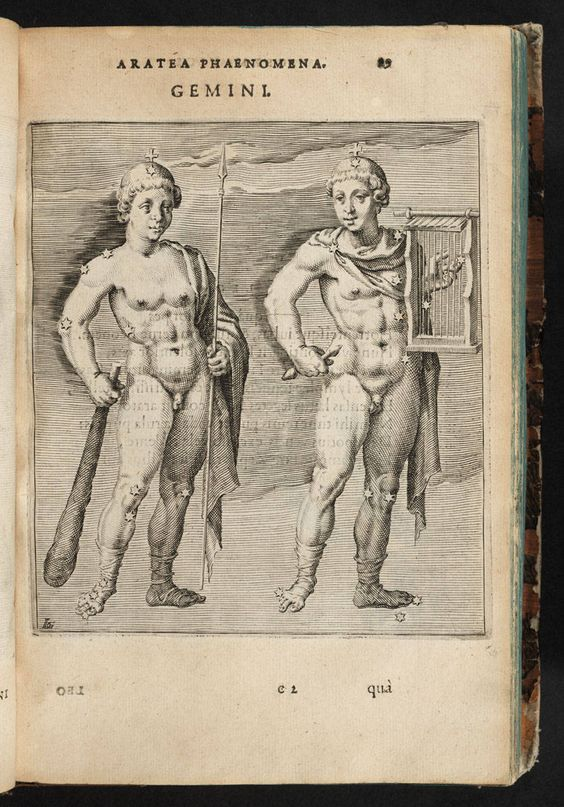 Aratus Solensis, 1600, Hug. Grotii Syntagma Arateorum.  Gemini.    Look up this site for many more images from the same book: