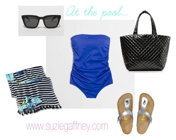 Spring Break - At the pool... by sgaffney on Polyvore featuring Birkenstock, pool, swimsuit, springbreak, birkenstocks and mzwallace: