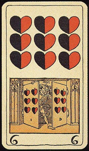 9♥ Deck: Muencher Jugend. Germany. Made: Vereinigte Stralsunder Spielkarten Fabrik AG. Date: 1898