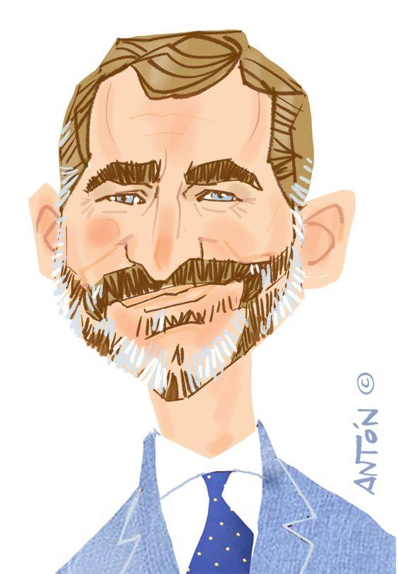 caricaturas de famosos: Rey Felipe VI. Caricatura digital