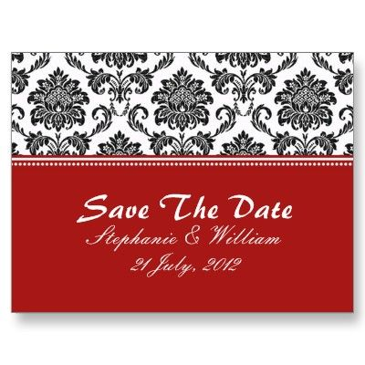 Black & White Damask Save The Date Postcards