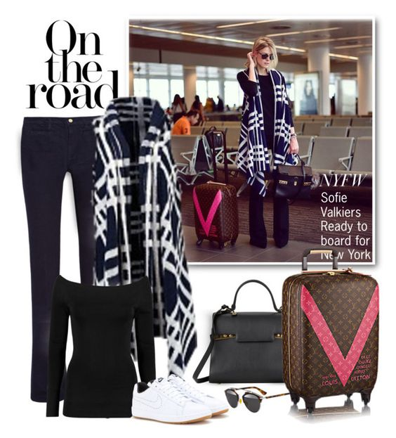 """""""Sofie Valkiers - Ready to board for New York"""" by emavera ❤ liked on Polyvore featuring MiH Jeans, Delvaux, Christian Dior and NIKE"""