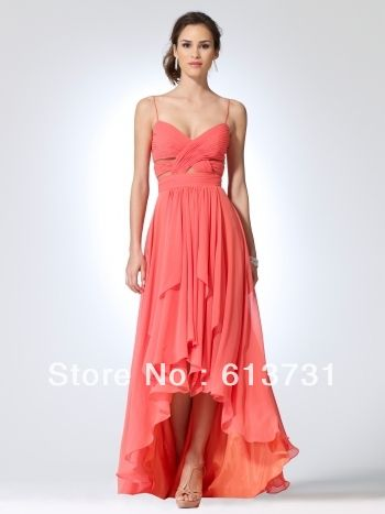 Wholesale 2012 Country Sweetheart Coral High Low Chiffon Wedding ...