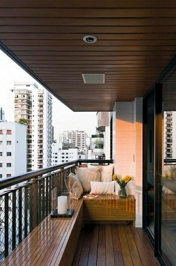 balkonüberdachung holz elegant modern