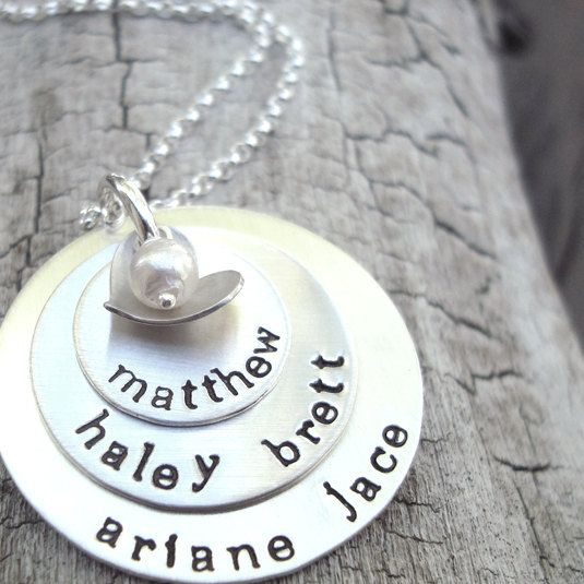 love you forever 3 layers handstamped mothers by CremeDeLaGems, $74.00