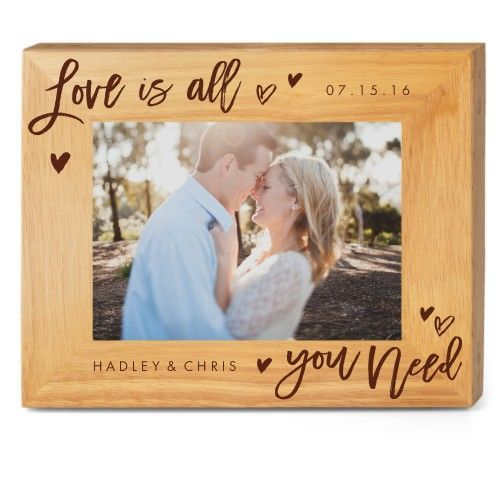 All You Need Wood Frame, - No photo insert, 10x8 Engraved Wood Frame, White