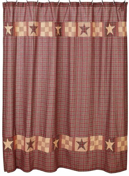 Bradford Star Shower Curtain Allysons Place Red Shower Curtains Country Bathroom Decor Bathroom Red
