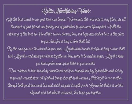 Wiccan wedding vows celtic handfasting vows