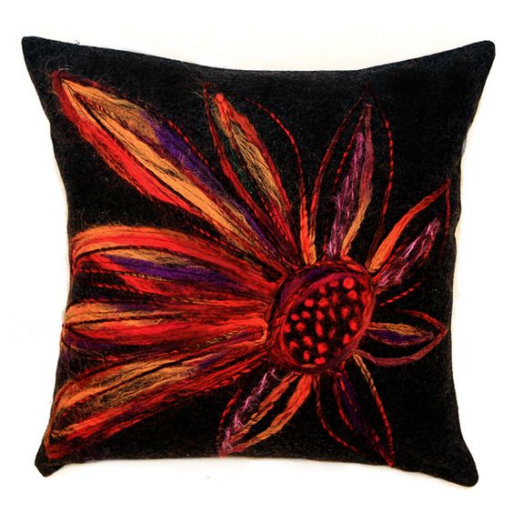 Black Decorative Pillow Cases : Decorative Pillow case, Wool Decorative black Throw pillow cover with multicolored Felted Flower ...