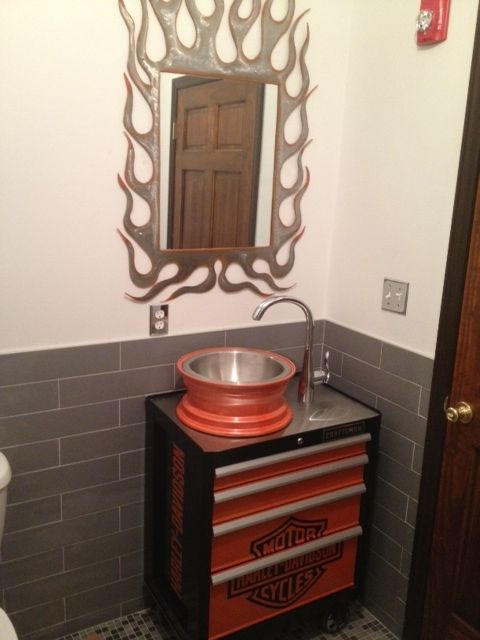 My client the river church 39 s harley bathroom with the for Church bathroom ideas