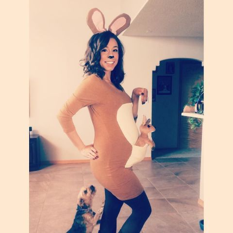 19 Hilarious and Easy Pregnancy Costumes to Help You Win Halloween: KANGA + ROO. Animal costumes are a perennial favorite for the ladies, and pregnant women don't need to be left out of the fun, especially with this easy mom-and-joey kangaroo costume. Bonus points if you're actually planning on naming your baby Joey! See more on Instagram.
