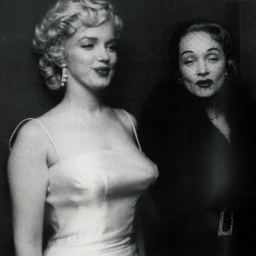 Marilyn Monroe and Marlene Dietrich, 1955.