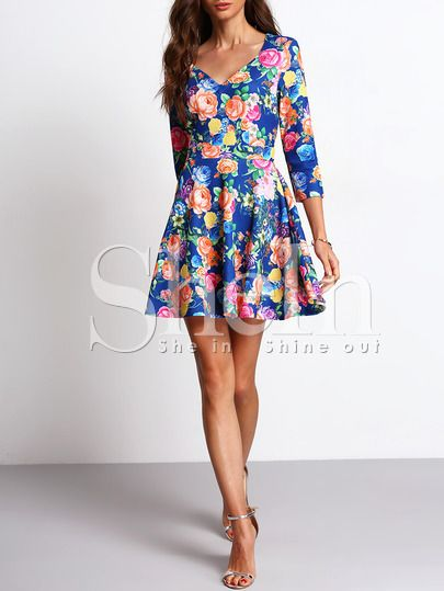 Shop Multicolor V Neck Floral Flare Dress online. SheIn offers Multicolor V Neck Floral Flare Dress & more to fit your fashionable needs.