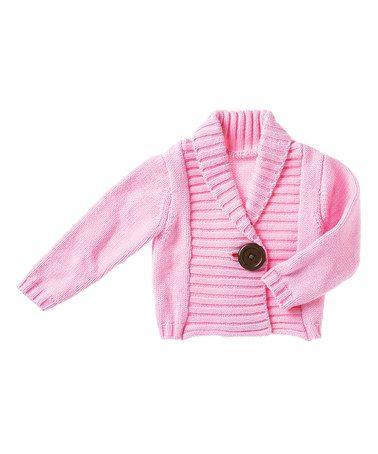 Another great find on #zulily! Light Pink One-Button Cardigan - Infant #zulilyfinds