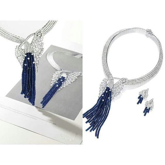 Sensational Sapphire and Diamond Necklace and Pair of Matching Earclips, Van Cleef & Arpels