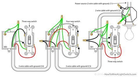 4 Way Switch With Power Feed Via The Light How To Wire A Light Switch Light Switch Wiring Home Electrical Wiring Three Way Switch