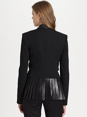 Alexander Wang - Leather-Trim Pleated Blazer - Saks.com. This looks fabulous!